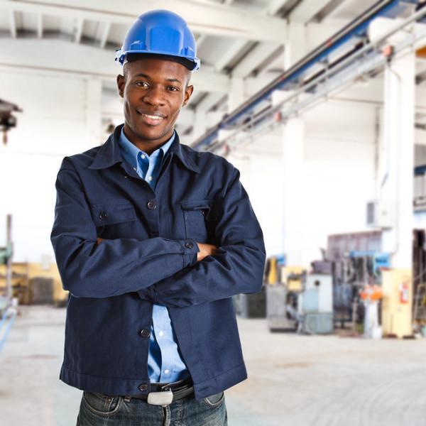 Portrait of an handsome black engineer